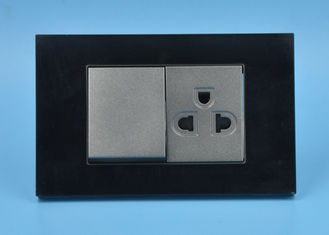 China Black Electrical Outlets And Switches , 1 Gang 1 Way Electric Wall Sockets supplier
