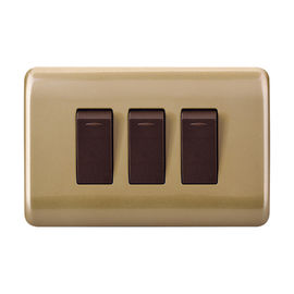 Golden 3 Gang 1 Way Switch Contemporary Light Switches Fireproof ABS Material