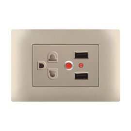 Electrical 240v USB Wall Socket Silver Contact Over Current Protection 118 * 75mm