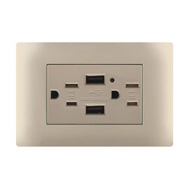 2 Gang USB Wall Socket Electrical Outlet Over Voltage Protection Durable And Safe