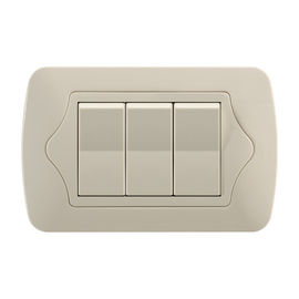 Double Plate 3 Gang 2 Way Switch Ivory Color With Copper Parts And Silver Contact