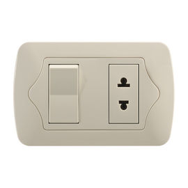 PC Material Gold Electric Wall Sockets , 1 Gang 1 Way / 2 Way Switch & 1 Gang Socket